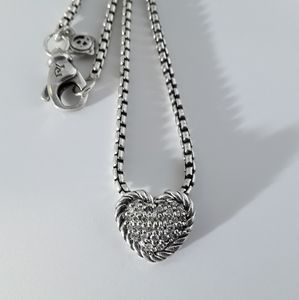 David Yurman Petite Pave Heart Pendant Necklace